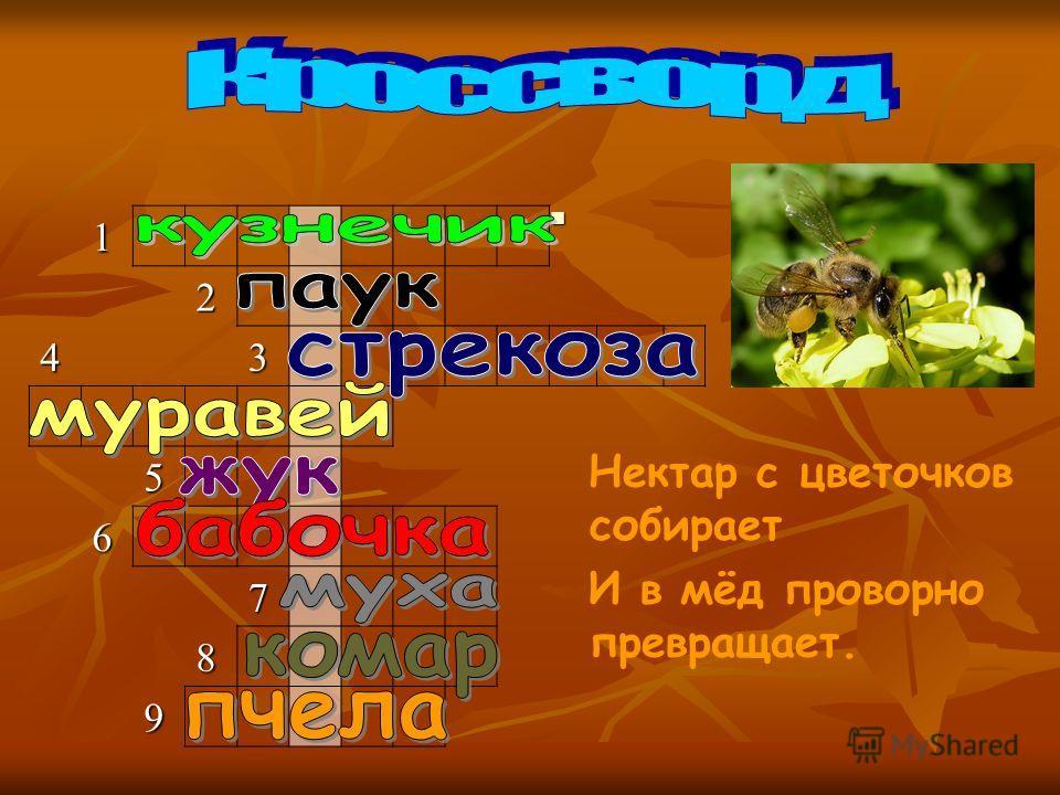 Вопрос 9 Вопрос 91 2 43 5 6 7 8 9 Нектар с цветочков собирает И в мёд проворно превращает.