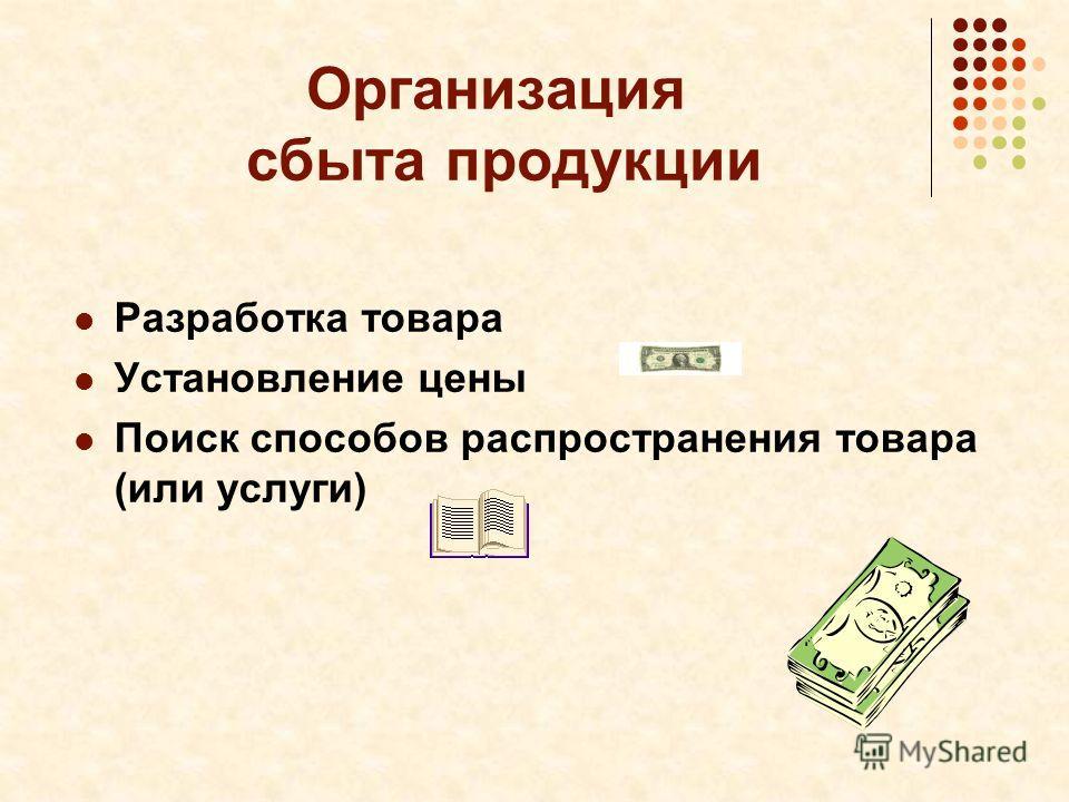 Организация сбыта продукции Разработка товара Установление цены Поиск способов распространения товара (или услуги)
