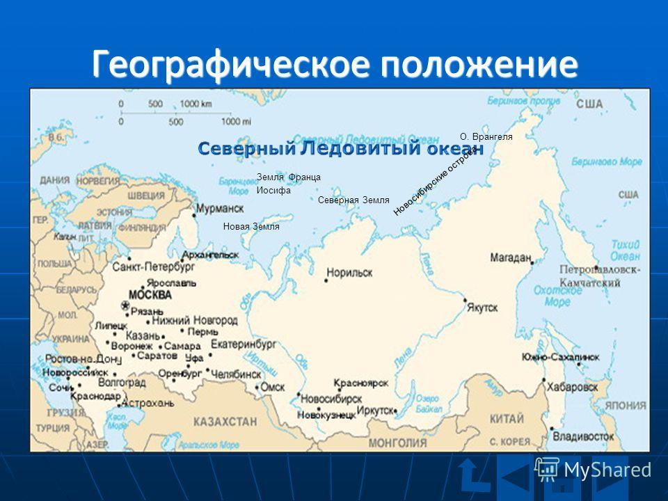 Географическое положение Земля Франца Иосифа Новая Земля Северная Земля Новосибирские острова О. Врангеля