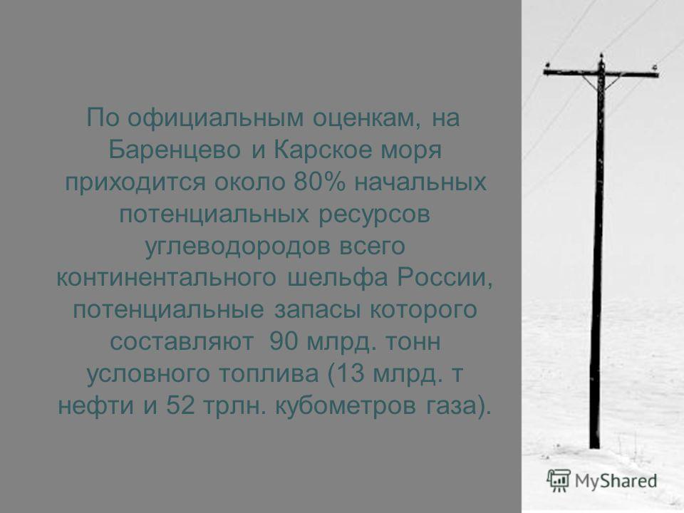 По официальным оценкам, на Баренцево и Карское моря приходится около 80% начальных потенциальных ресурсов углеводородов всего континентального шельфа России, потенциальные запасы которого составляют 90 млрд. тонн условного топлива (13 млрд. т нефти и
