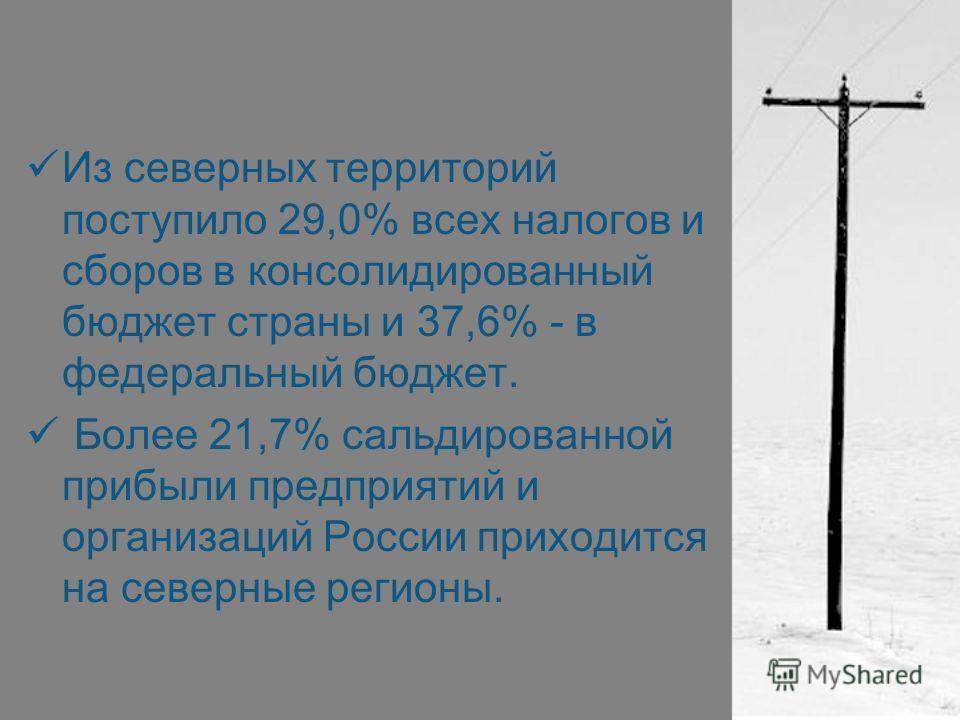 Из северных территорий поступило 29,0% всех налогов и сборов в консолидированный бюджет страны и 37,6% - в федеральный бюджет. Более 21,7% сальдированной прибыли предприятий и организаций России приходится на северные регионы.
