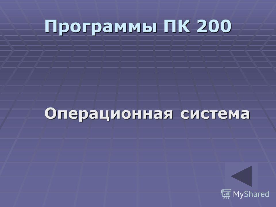Программы ПК 200 Операционная система