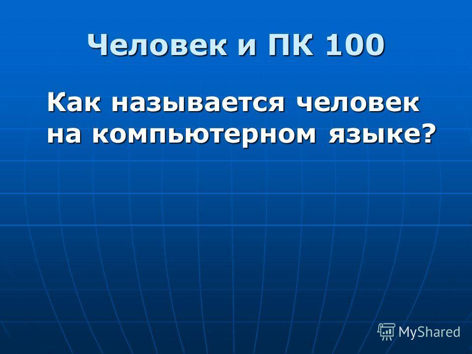Человек и ПК 100 Как называется человек на компьютерном языке?