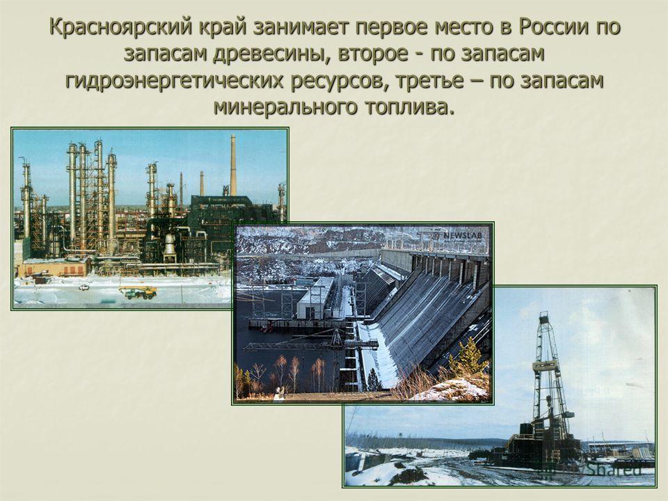 Красноярский край занимает первое место в России по запасам древесины, второе - по запасам гидроэнергетических ресурсов, третье – по запасам минерального топлива.