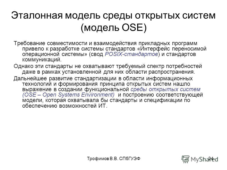 Трофимов В.В. СПбГУЭФ24 Эталонная модель среды открытых систем (модель OSE) Требование совместимости и взаимодействия прикладных программ привело к разработке системы стандартов «Интерфейс переносимой операционной системы» (свод POSIX-стандартов) и с