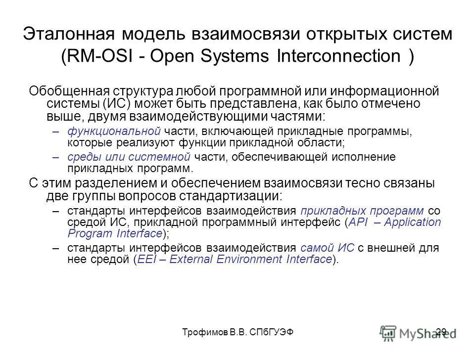 Трофимов В.В. СПбГУЭФ29 Эталонная модель взаимосвязи открытых систем (RM-OSI - Open Systems Interconnection ) Обобщенная структура любой программной или информационной системы (ИС) может быть представлена, как было отмечено выше, двумя взаимодействую