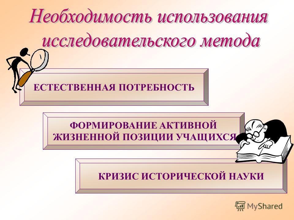 КРИЗИС ИСТОРИЧЕСКОЙ НАУКИ ФОРМИРОВАНИЕ АКТИВНОЙ ЖИЗНЕННОЙ ПОЗИЦИИ УЧАЩИХСЯ ЕСТЕСТВЕННАЯ ПОТРЕБНОСТЬ