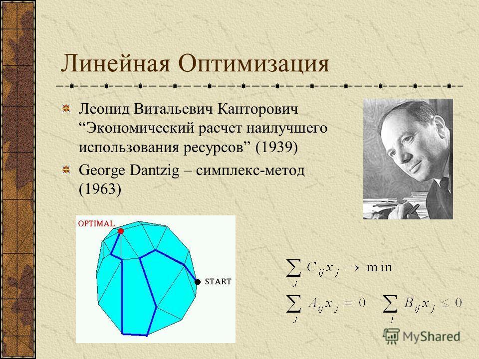 Линейная Оптимизация Леонид Витальевич КанторовичЭкономический расчет наилучшего использования ресурсов (1939) George Dantzig – симплекс-метод (1963)