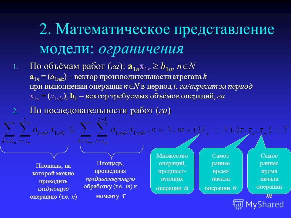 2. Математическое представление модели: ограничения 1. По объёмам работ (га): a 1n x 1n b 1n, n N a 1n = (a 1nkt ) – вектор производительности агрегата k при выполнении операции n N в период t, га/агрегат за период x 1n = (x 1nkt ); b 1 – вектор треб