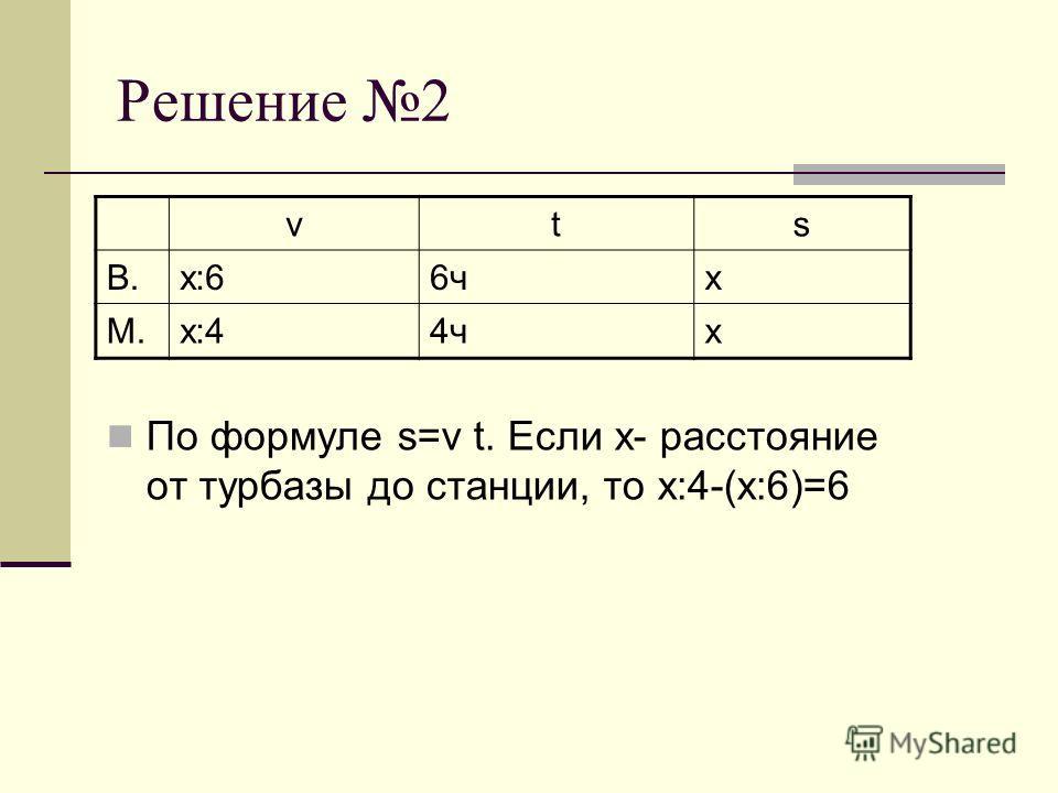 Решение 2 По формуле s=v t. Если х- расстояние от турбазы до станции, то х:4-(х:6)=6 vts В.х:66чх М.х:44чх