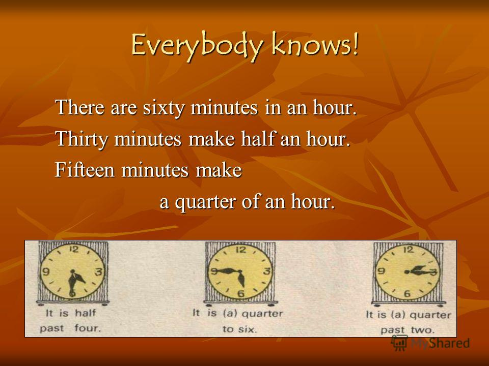There are sixty minutes in an hour. Thirty minutes make half an hour. Fifteen minutes make a quarter of an hour. Everybody knows!