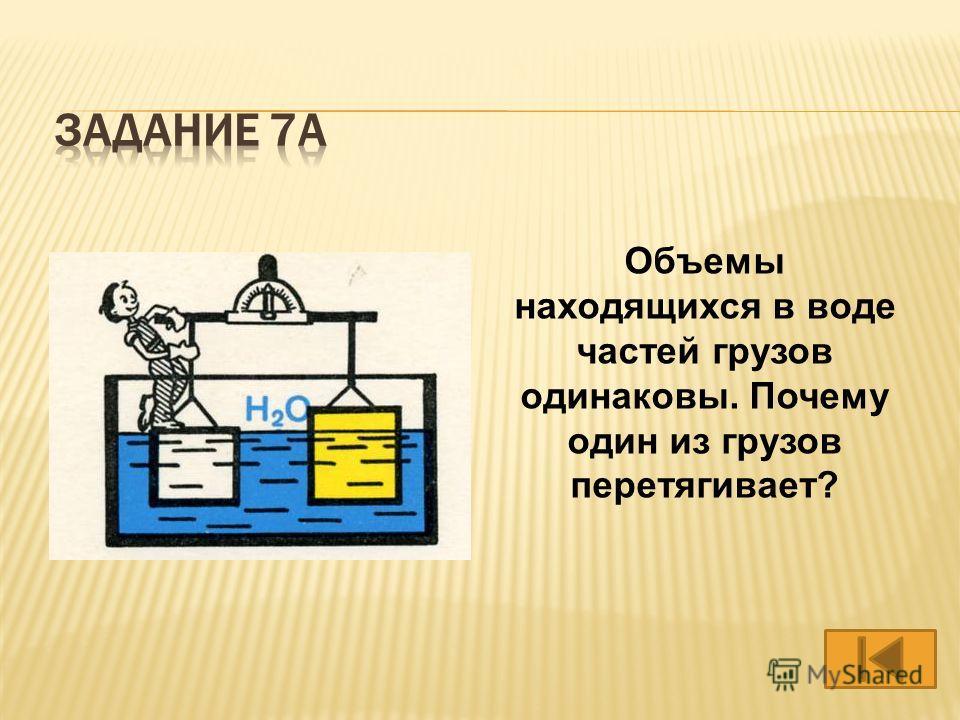 Объемы находящихся в воде частей грузов одинаковы. Почему один из грузов перетягивает?