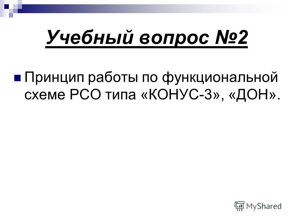 Учебный вопрос 2 Принцип работы по функциональной схеме РСО типа «КОНУС-3», «ДОН».