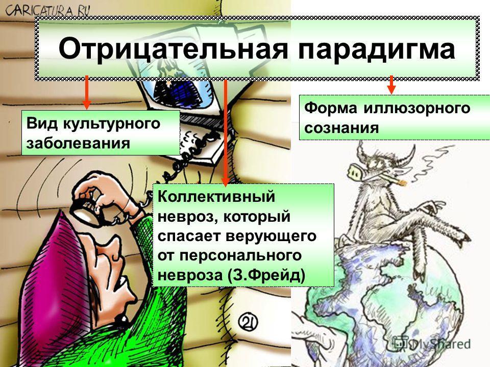 Отрицательная парадигма Форма иллюзорного сознания Вид культурного заболевания Коллективный невроз, который спасает верующего от персонального невроза (З.Фрейд)