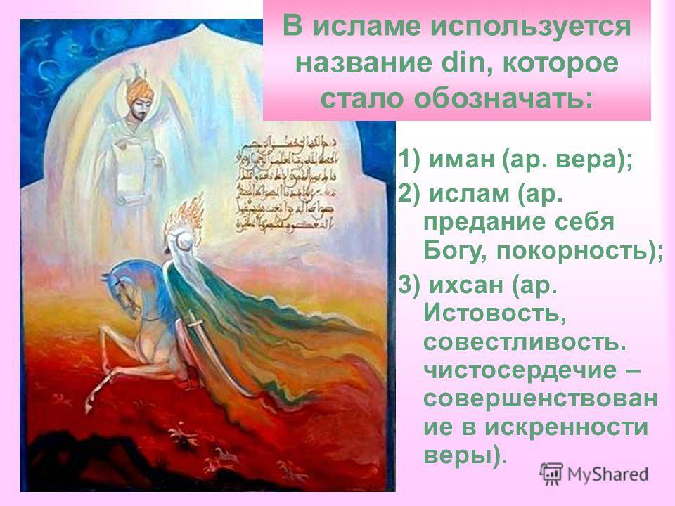 1) иман (ар. вера); 2) ислам (ар. предание себя Богу, покорность); 3) ихсан (ар. Истовость, совестливость. чистосердечие – совершенствован ие в искренности веры). В исламе используется название din, которое стало обозначать: