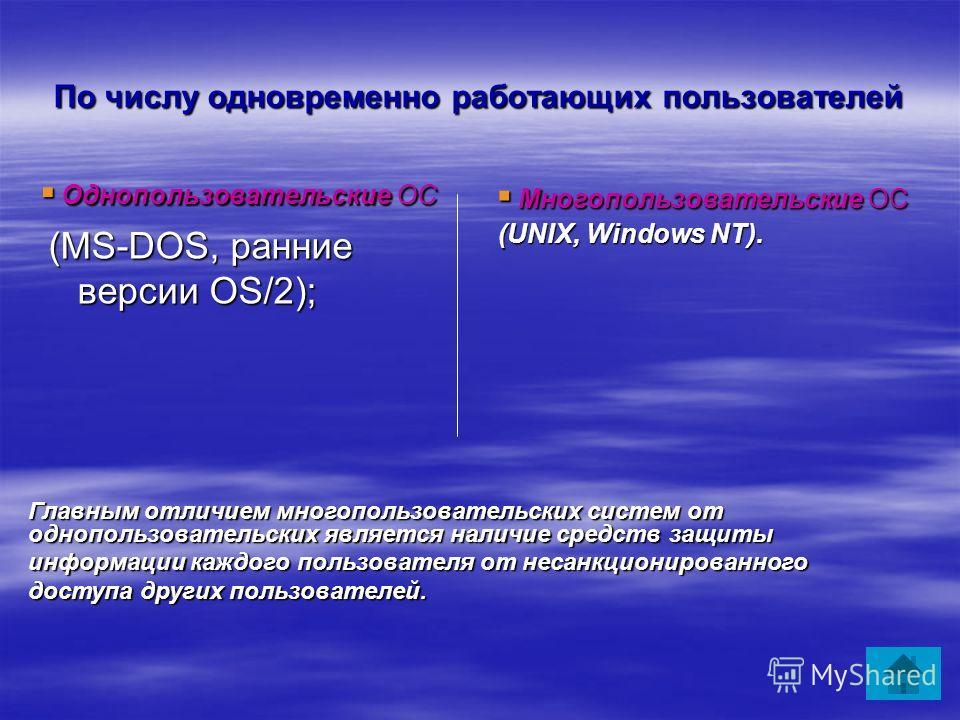 По числу одновременно работающих пользователей Однопользовательские ОС Однопользовательские ОС (MS-DOS, ранние версии OS/2); (MS-DOS, ранние версии OS/2); Многопользовательские ОС Многопользовательские ОС (UNIX, Windows NT). Главным отличием многопол