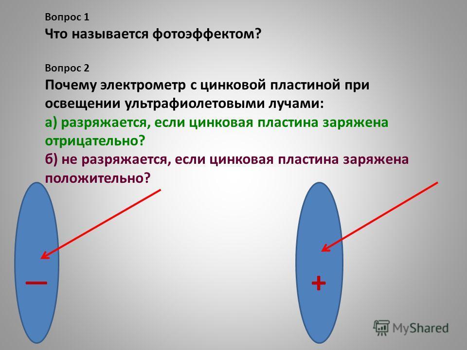 Вопрос 1 Что называется фотоэффектом? Вопрос 2 Почему электрометр с цинковой пластиной при освещении ультрафиолетовыми лучами: а) разряжается, если цинковая пластина заряжена отрицательно? б) не разряжается, если цинковая пластина заряжена положитель