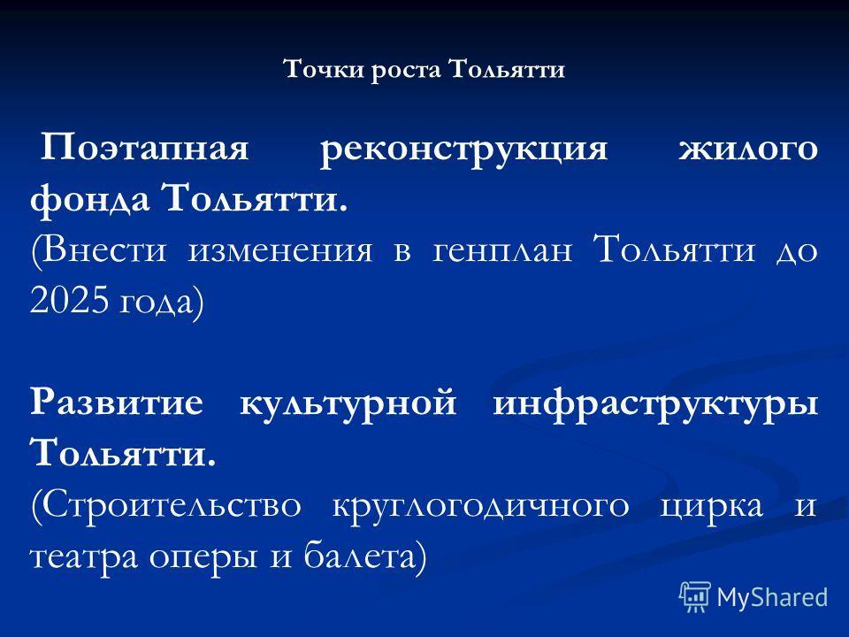 Точки роста Тольятти Поэтапная реконструкция жилого фонда Тольятти. (Внести изменения в генплан Тольятти до 2025 года) Развитие культурной инфраструктуры Тольятти. (Строительство круглогодичного цирка и театра оперы и балета)