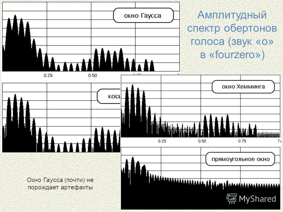 Амплитудный спектр обертонов голоса (звук «о» в «fourzero») Окно Гаусса (почти) не порождает артефакты