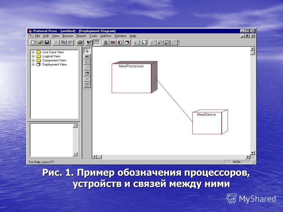 Рис. 1. Пример обозначения процессоров, устройств и связей между ними