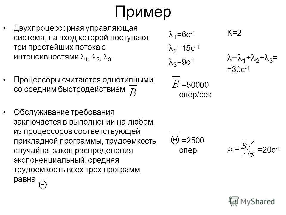 1 =6с -1 2 =15с -1 3 =9с -1 =50000 опер/сек =2500 опер Пример Двухпроцессорная управляющая система, на вход которой поступают три простейших потока с интенсивностями 1, 2, 3. Процессоры считаются однотипными со средним быстродействием Обслуживание тр