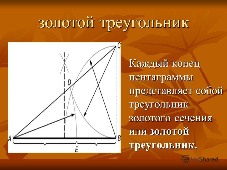 золотой треугольник Каждый конец пентаграммы представляет собой треугольник золотого сечения или золотой треугольник.