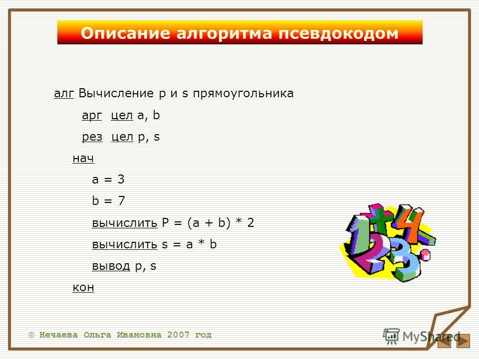 © Нечаева Ольга Ивановна 2007 год Описание алгоритма псевдокодом алг Вычисление p и s прямоугольника арг цел a, b рез цел p, s нач a = 3 b = 7 вычислить P = (a + b) * 2 вычислить s = a * b вывод p, s кон