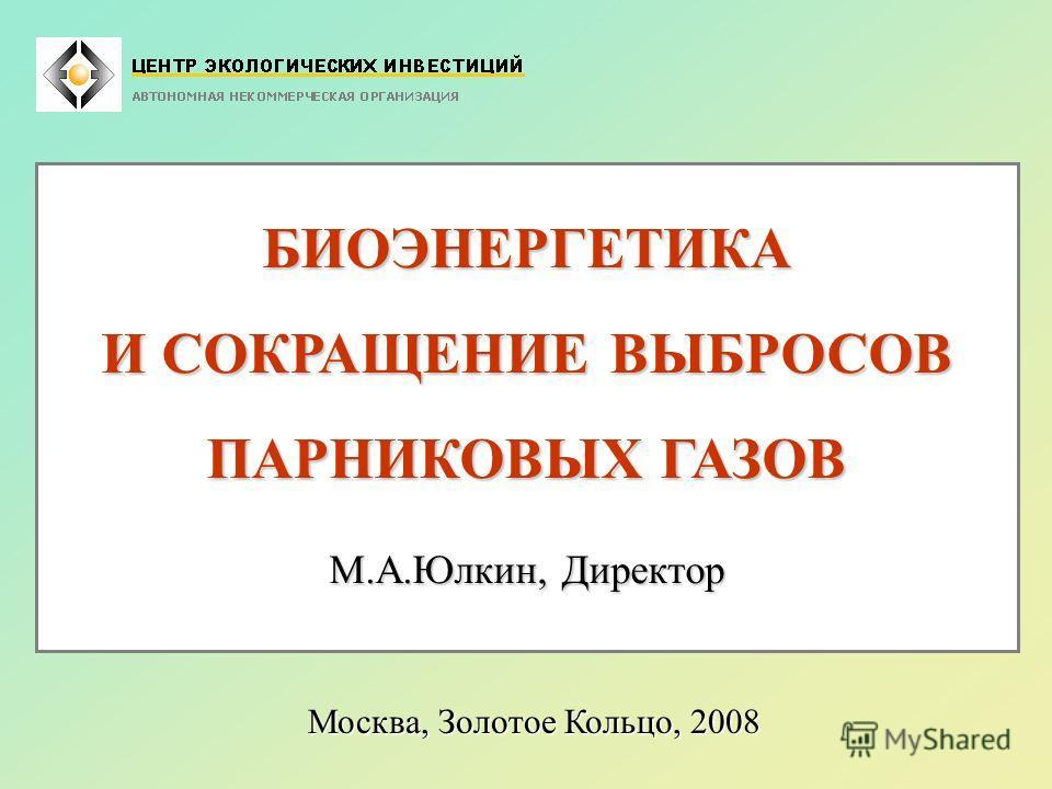 БИОЭНЕРГЕТИКА И СОКРАЩЕНИЕ ВЫБРОСОВ ПАРНИКОВЫХ ГАЗОВ М.А.Юлкин, Директор Москва, Золотое Кольцо, 2008
