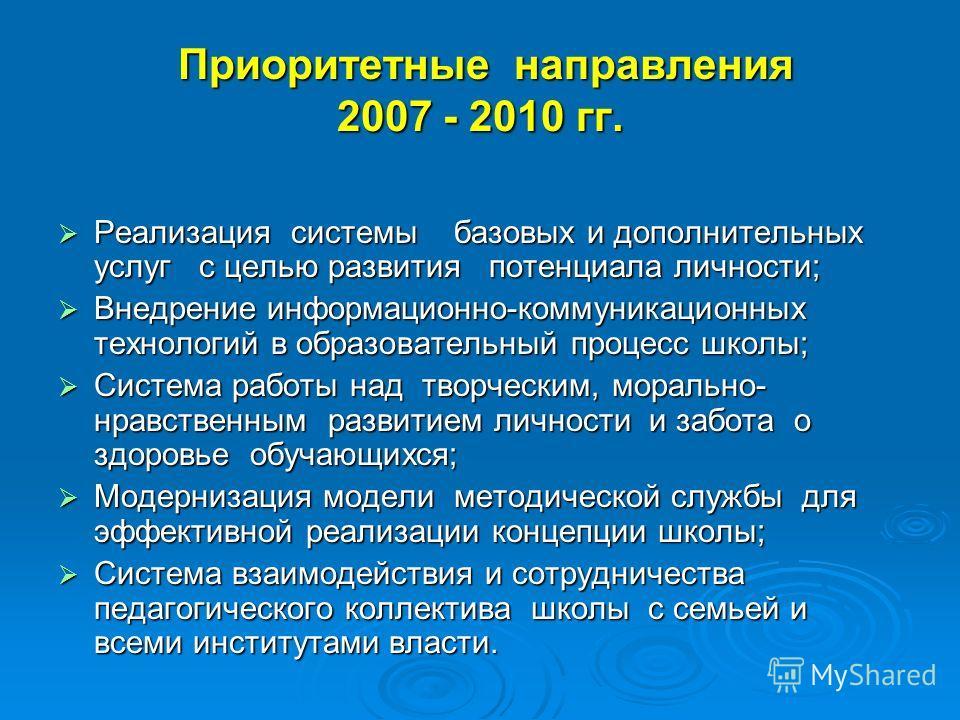 Приоритетные направления 2007 - 2010 гг. Приоритетные направления 2007 - 2010 гг. Реализация системы базовых и дополнительных услуг с целью развития потенциала личности; Реализация системы базовых и дополнительных услуг с целью развития потенциала ли