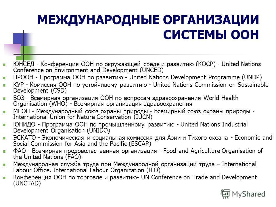 МЕЖДУНАРОДНЫЕ ОРГАНИЗАЦИИ СИСТЕМЫ ООН ЮНСЕД - Конференция ООН по окружающей среде и развитию (КОСР) - United Nations Conference on Environment and Development (UNCED) ПРООН - Программа ООН по развитию - United Nations Development Programme (UNDP) КУР