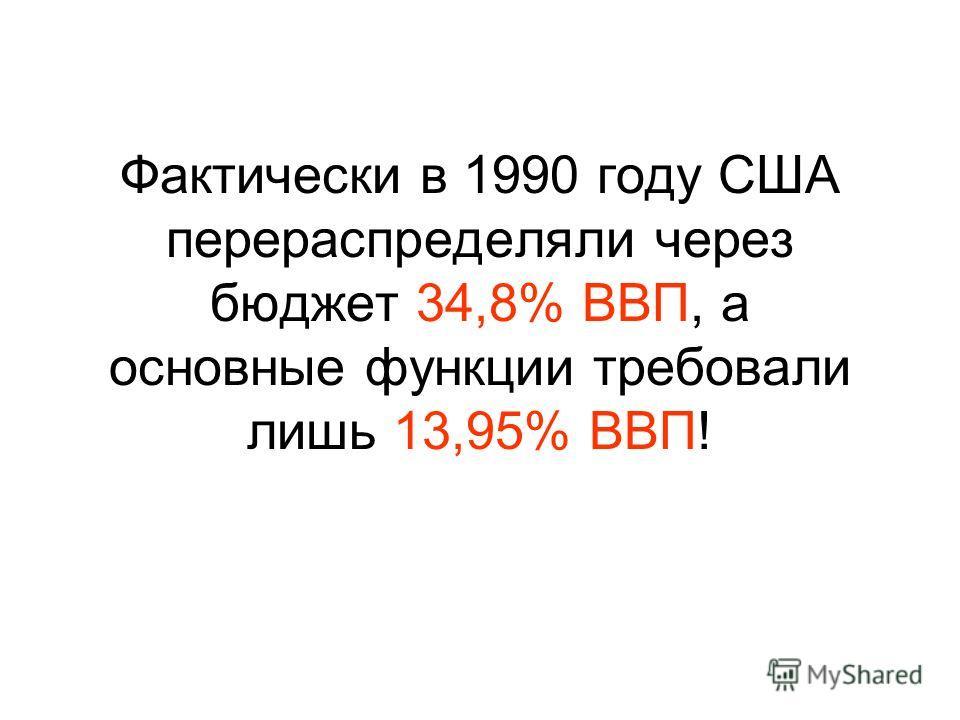 Фактически в 1990 году США перераспределяли через бюджет 34,8% ВВП, а основные функции требовали лишь 13,95% ВВП!