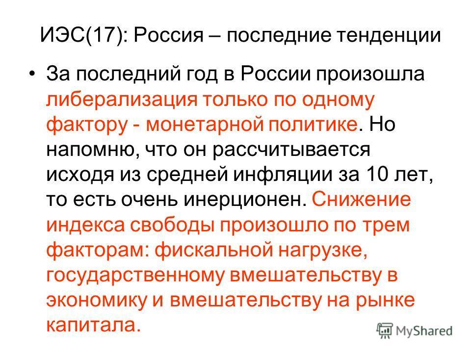 ИЭС(17): Россия – последние тенденции За последний год в России произошла либерализация только по одному фактору - монетарной политике. Но напомню, что он рассчитывается исходя из средней инфляции за 10 лет, то есть очень инерционен. Снижение индекса