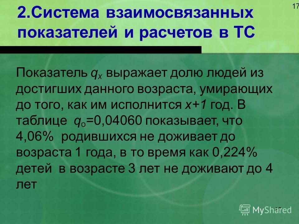 17 2.Система взаимосвязанных показателей и расчетов в ТС 17 Показатель q x выражает долю людей из достигших данного возраста, умирающих до того, как им исполнится х+1 год. В таблице q о =0,04060 показывает, что 4,06% родившихся не доживает до возраст