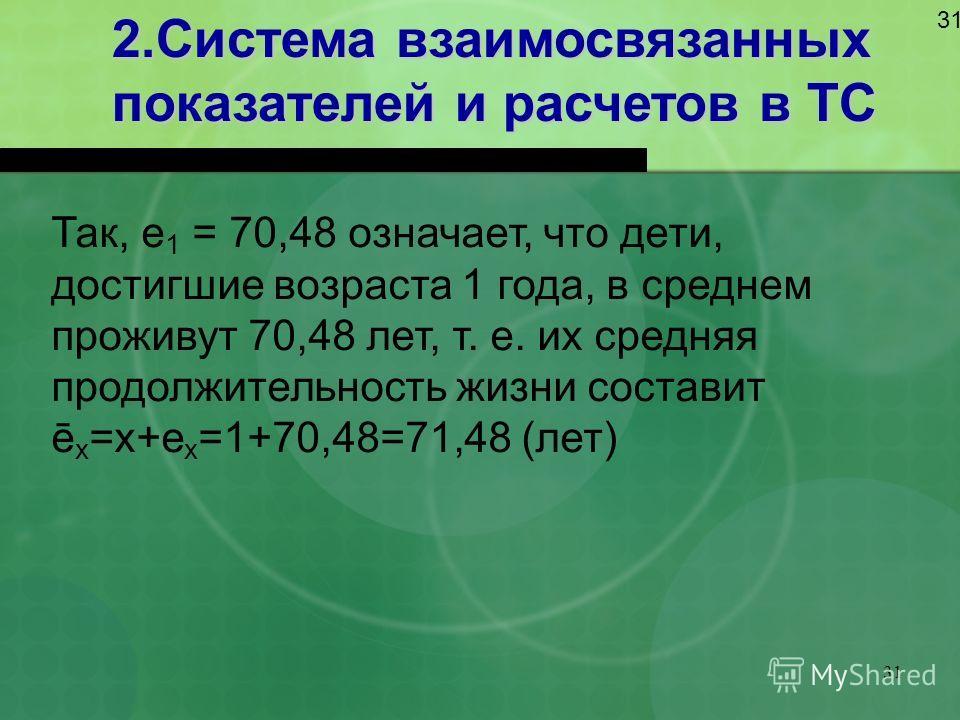 31 2.Система взаимосвязанных показателей и расчетов в ТС 31 Так, e 1 = 70,48 означает, что дети, достигшие возраста 1 года, в среднем проживут 70,48 лет, т. е. их средняя продолжительность жизни составит ē х =х+е х =1+70,48=71,48 (лет)