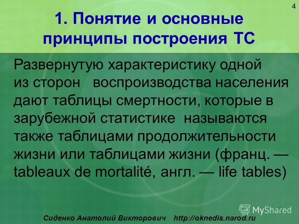 4 Сиденко Анатолий Викторович http://oknedis.narod.ru 1. Понятие и основные принципы построения ТС 4 Развернутую характеристику одной из сторон воспроизводства населения дают таблицы смертности, которые в зарубежной статистике называются также таблиц