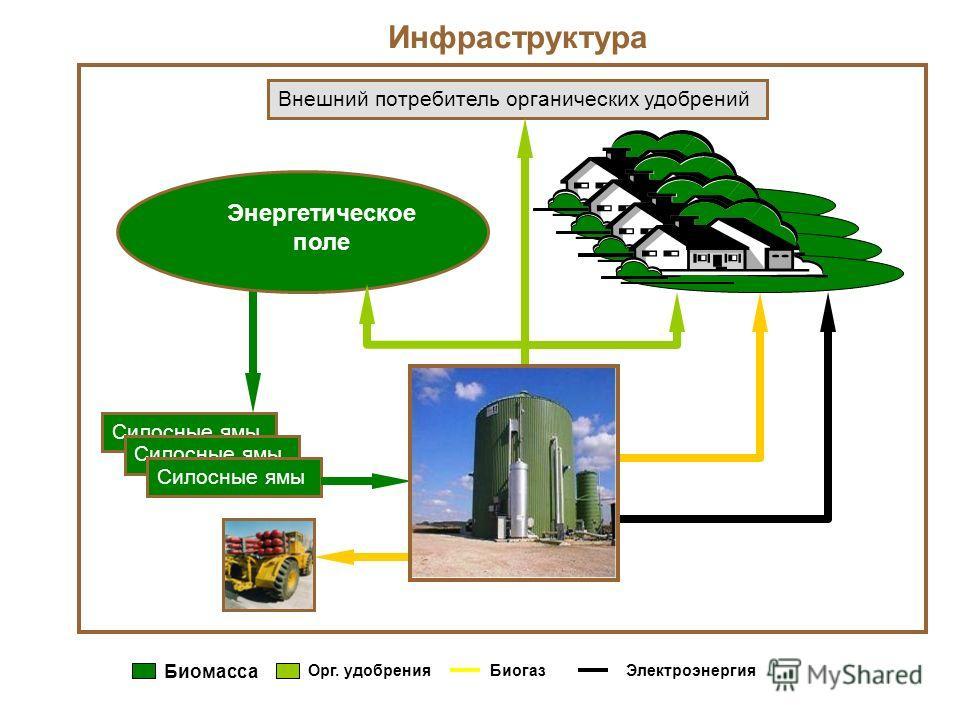 Инфраструктура Силосные ямы Энергетическое поле Внешний потребитель органических удобрений Биомасса Орг. удобренияБиогазЭлектроэнергия