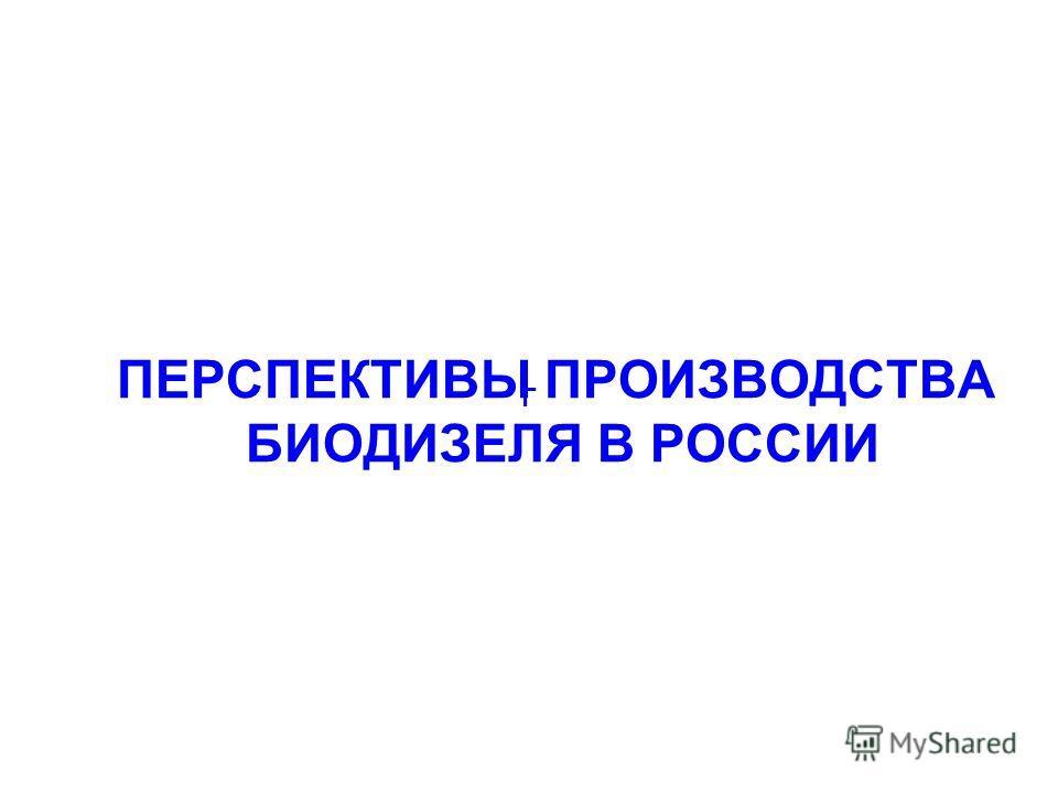ПЕРСПЕКТИВЫ ПРОИЗВОДСТВА БИОДИЗЕЛЯ В РОССИИ Г
