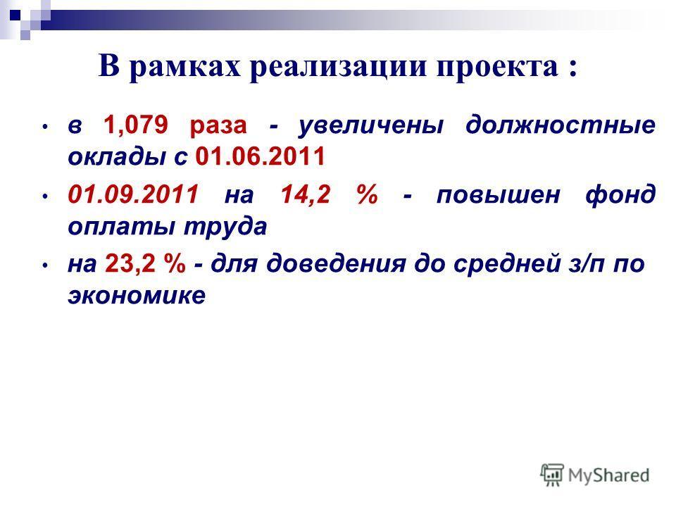 В рамках реализации проекта : в 1,079 раза - увеличены должностные оклады с 01.06.2011 01.09.2011 на 14,2 % - повышен фонд оплаты труда на 23,2 % - для доведения до средней з/п по экономике