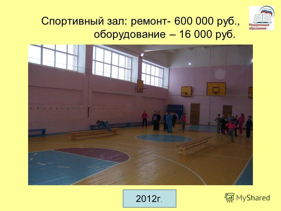 Спортивный зал: ремонт- 600 000 руб., оборудование – 16 000 руб. 2012г.