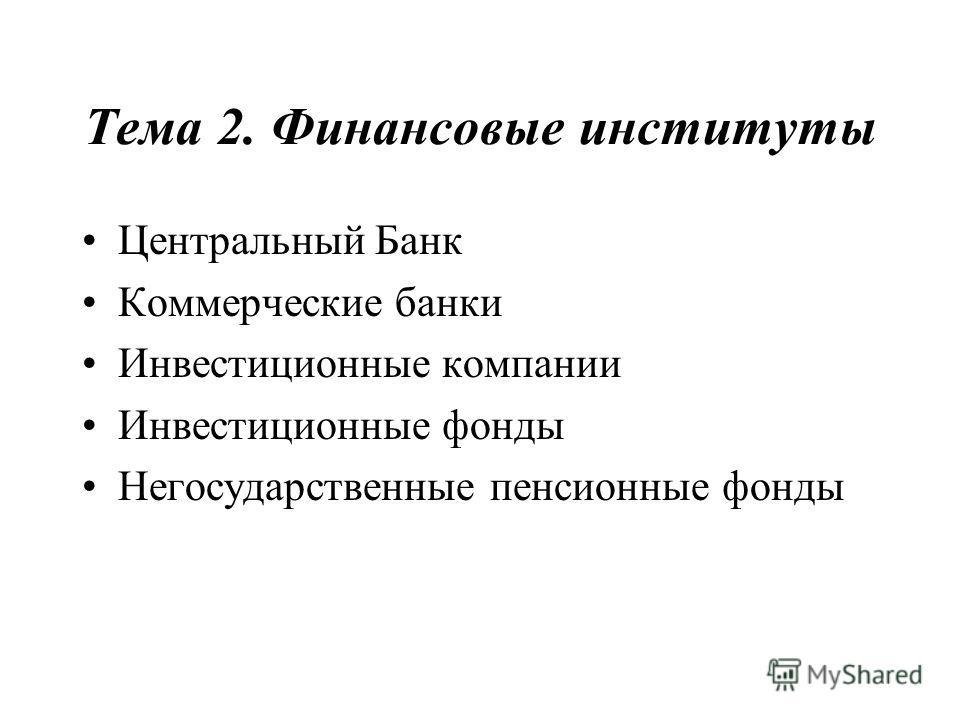 Тема 2. Финансовые институты Центральный Банк Коммерческие банки Инвестиционные компании Инвестиционные фонды Негосударственные пенсионные фонды