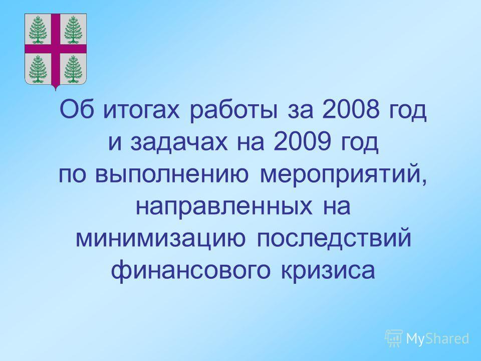 Об итогах работы за 2008 год и задачах на 2009 год по выполнению мероприятий, направленных на минимизацию последствий финансового кризиса