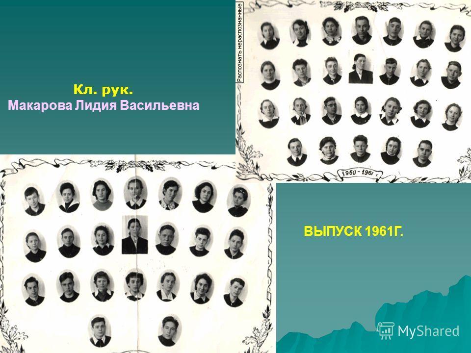 Кл. рук. Макарова Лидия Васильевна ВЫПУСК 1961Г.