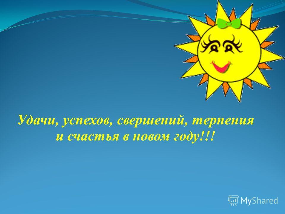 Удачи, успехов, свершений, терпения и счастья в новом году!!!