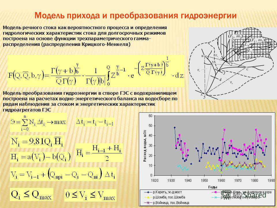 Модель прихода и преобразования гидроэнергии Модель речного стока как вероятностного процесса и определения гидрологических характеристик стока для долгосрочных режимов построена на основе функции трехпараметрического гамма- распределения (распределе