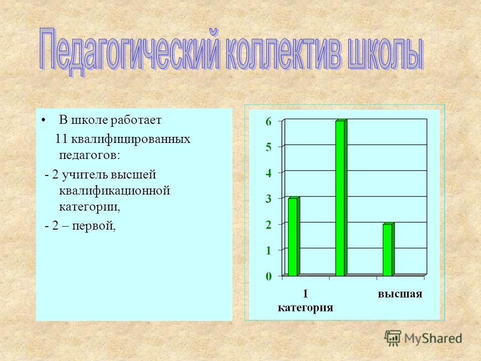 В школе работает 11 квалифицированных педагогов: - 2 учитель высшей квалификационной категории, - 2 – первой,