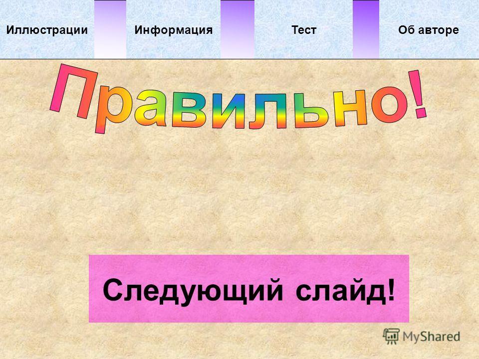 Об автореИллюстрацииТестИнформация Следующий слайд!