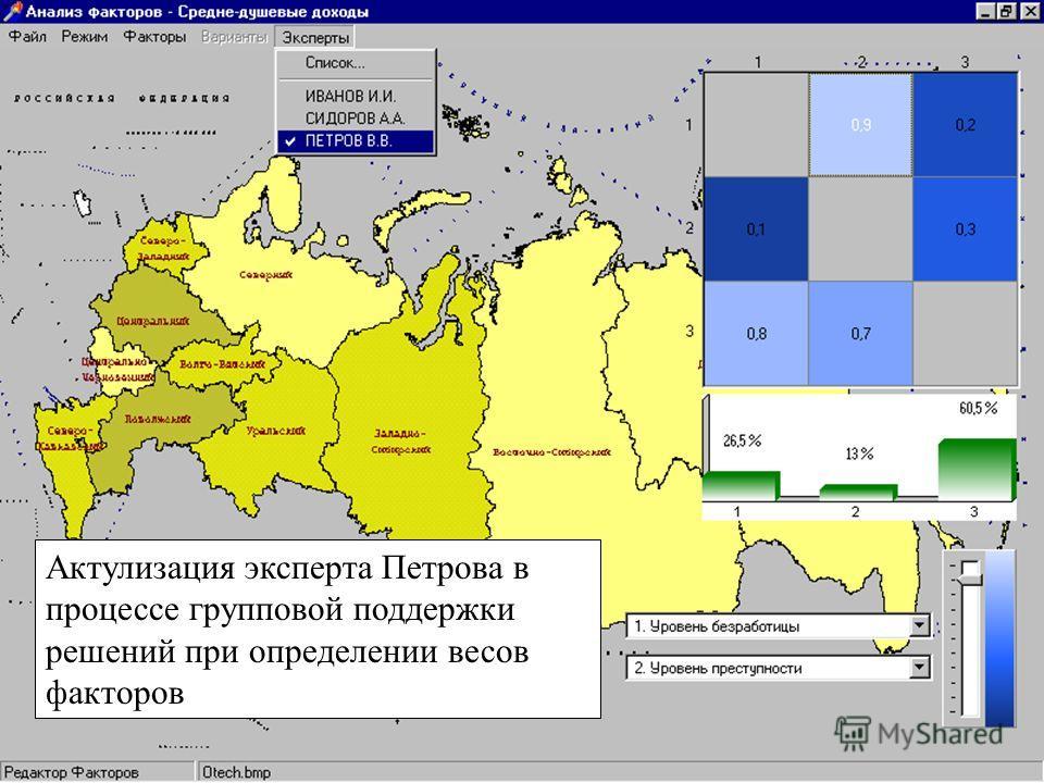 Актулизация эксперта Петрова в процессе групповой поддержки решений при определении весов факторов