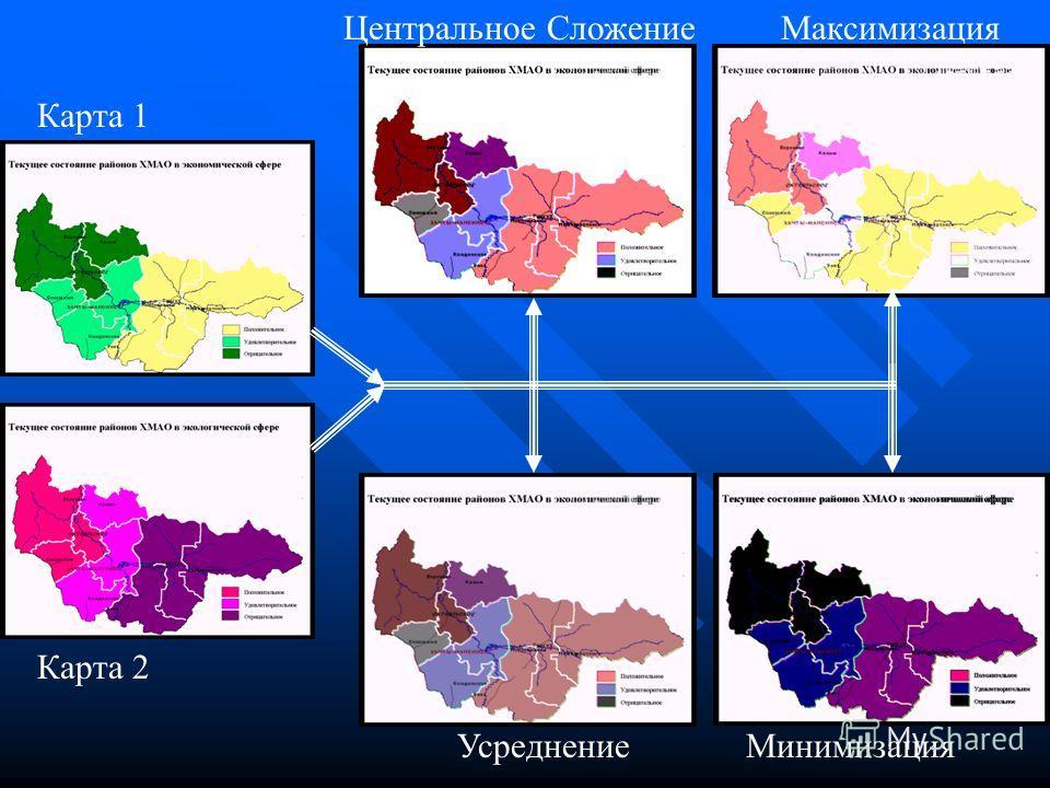 Карта 1 Карта 2 Центральное Сложение Усреднение Максимизация Минимизация