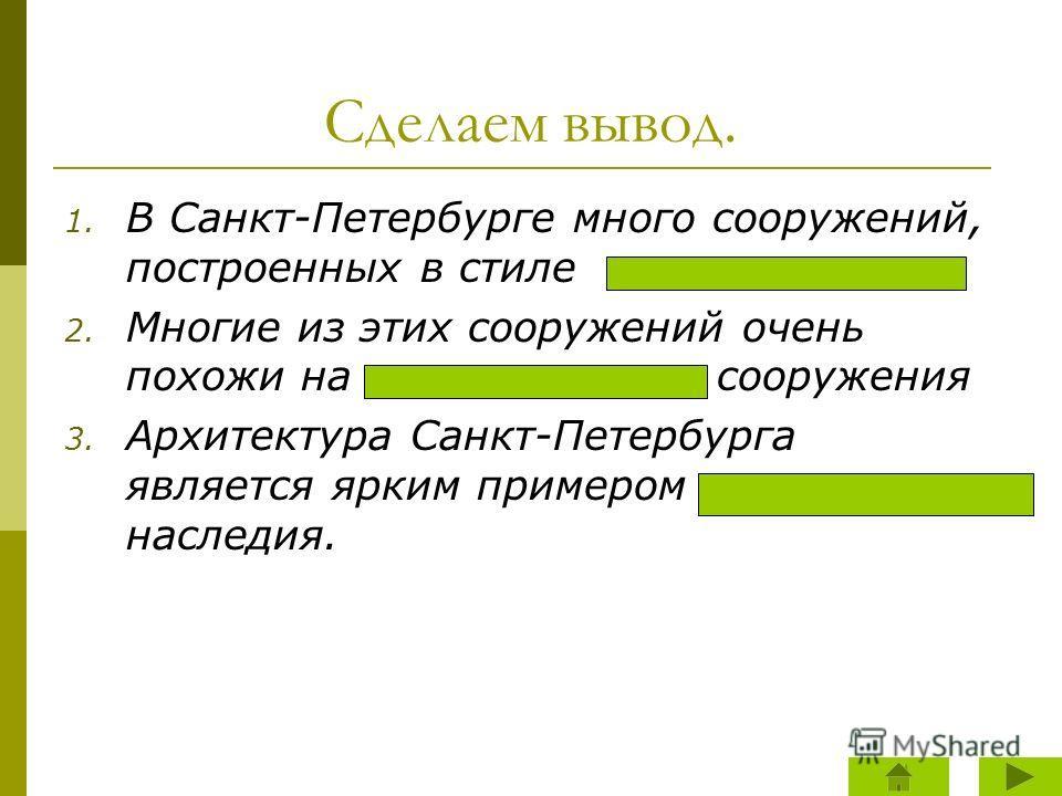Сделаем вывод. 1. В Санкт-Петербурге много сооружений, построенных в стиле 2. Многие из этих сооружений очень похожи на сооружения 3. Архитектура Санкт-Петербурга является ярким примером наследия. классицизм античные античного архитектурного