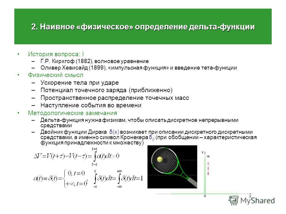 2. Наивное «физическое» определение дельта-функции История вопроса: I –Г.Р. Кирхгоф (1882), волновое уравнение –Оливер Хевисайд (1899), «импульсная функция» и введение тета-функции Физический смысл –Ускорение тела при ударе –Потенциал точечного заряд